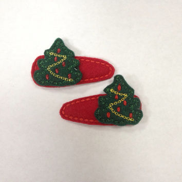 Christmas Tree Felt Snap Hair Clip Barrette set off Two