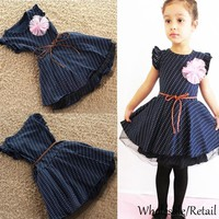 Summer Kids Baby Girls Princess Dots Dresses Party Knee Length Tulle Dress Child Clothes Appliqued Mesh Patchwork Dark Blue Dress SV002333