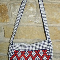 1960 Vintage White and Red Plastic Beaded Purse