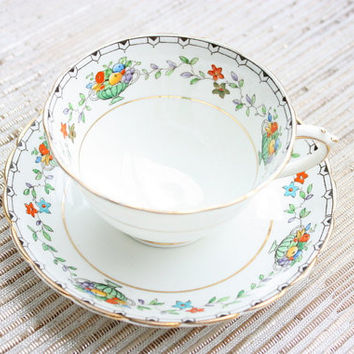 Tuscan China Made In England Cup And Saucer Tea Set / Tea Party / Bridal Gift / Coffee Set / Coffee Cups / Fruit Cup / Royal Tuscan China