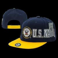 US Navy Military Baseball Cap Ball Hat D-Day Collection- Blue/Yellow