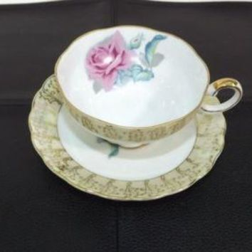 Vintage PINK ROSE Antique gold trim Saucer and cup Set Made in JAPAN