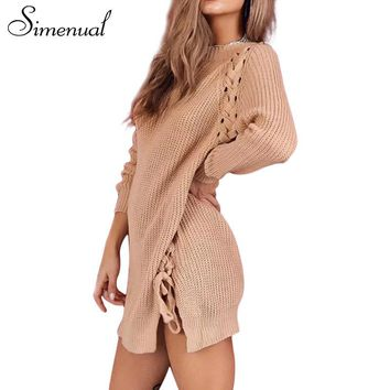 Simenual Side lace up winter sweater dress female knitted clothing long sleeve solid casual straight short dresses for women hot
