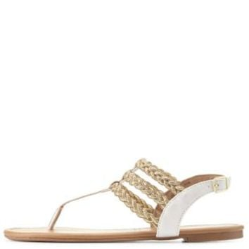 Braided Metallic Triple T-Strap Sandals