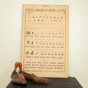 19th Century French Alphabet School Chart
