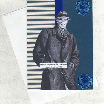 Quirky Collage Art Card for Secret Video Game Lovers - Blue Gaming Card for Guys - Retro Inspired - A Video Game Addict