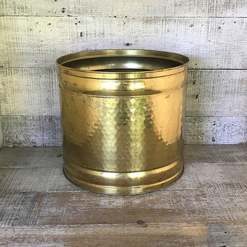 Brass Planter Large Hammered Brass Planter Brass Container Brass Plant Pot Garden Container Outdoor Planter Mid Century Indoor Planter