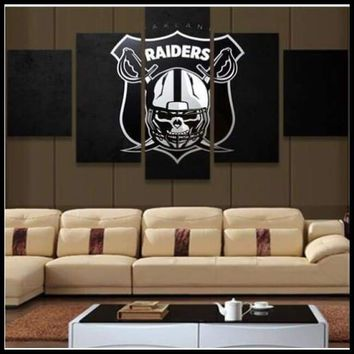 NFL Man Cave 5 Piece Wall Art Oakland Raiders Football Canvas Painting