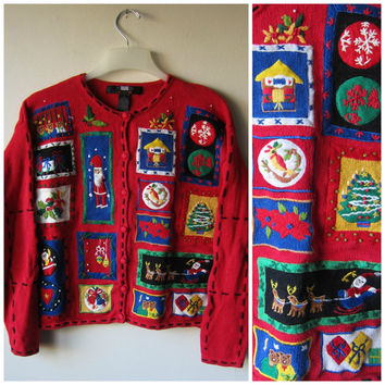 Ugly Christmas Sweater! Red Kitschy, Tacky Festive Holiday Sweater! Hipster Style Button Up Party Sweater!