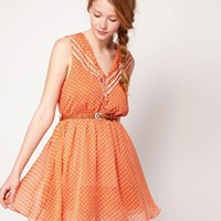 Dahlia | Dahlia Chiffon Spot Belted Skater Dress With Contrast Frill at ASOS