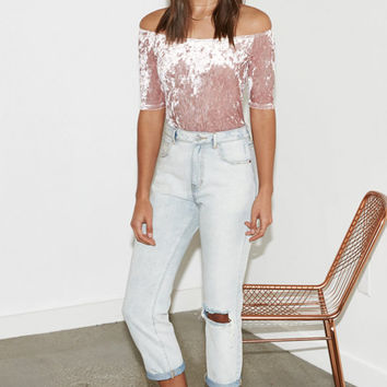 Kendall & Kylie Crushed Velour Off-The-Shoulder Top at PacSun.com