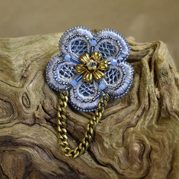 Flower Hair Clip & Brooch Beaded Blue Lace with Brass and Swarovski Crystals - Floral Wedding Clip - floral hair accessory - Something Blue