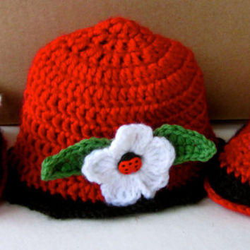 Crochet lady bug baby shoes and Hat set