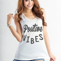 Positive Vibe Tank Tops Women Graphic Muscle Tank Workout Shirt Tunic Tank Tumblr Instagram Fashion Blogger TShirt Gift Ideas for Teen