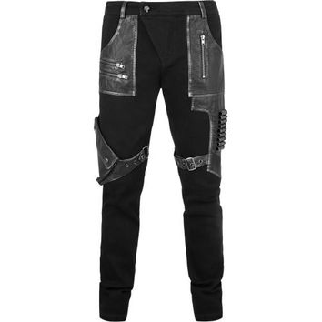 Gothic denim and leather-look bullet pants by Punk Rave
