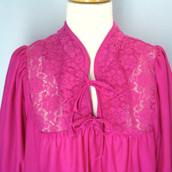 Vintage 70s Dress Fuchsia Pink Lace Bodice XL Plus Size