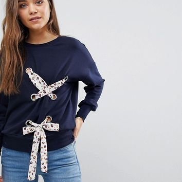 After Market Lace Up Detail Sweatshirt at asos.com
