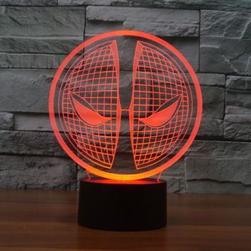 Deadpool Mask 3D LED Night Light Lamp