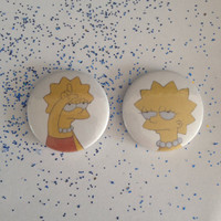 90s lisa simpson set of 2 pin back badges/buttons