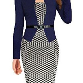 Women Color block Wear To Work Business Party Bodycon One-Piece Dress
