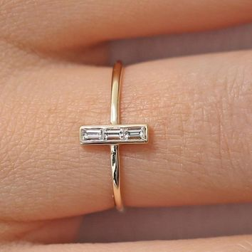 Stacked Baguette Ring CZ &Silver/Gold/Rose Gold Plated