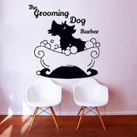 Wall Decals The Grooming Dog Barber Decal Vinyl Sticker Pet Shop Scissors Home Decor Bedroom Interior Design Window Art Mural MN481