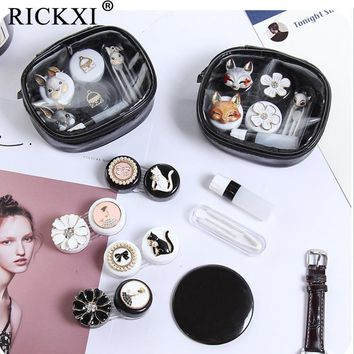 1 Set Cute Fashion Animal Flower Human Contact Lens Case For Women Men Eyes Contact Lenses Box For Glasses Lens Container