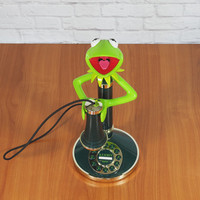 Vintage Kermit the Frog Candlestick Telephone Green by Telemania / Muppets Collecitble / WORKS