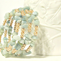 Amazonite & Pearl Wrap Bracelet - Pastel Peach and Blue - Wedding Bracelet, Memory Wire Bracelet, Boho Bracelet