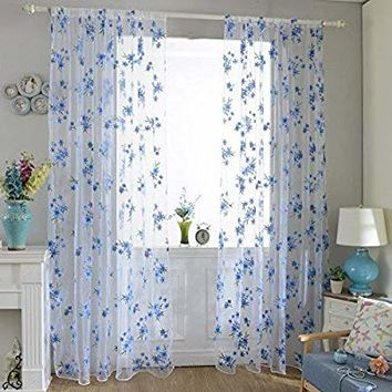Norbi Fresh Floral Print Tulle Voile Door Window Rom Curtain Drape Panel Sheer Scarf Valances (Blue)