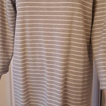 Kate Spade sz 12 Broome St Gray and Cream Striped Dress