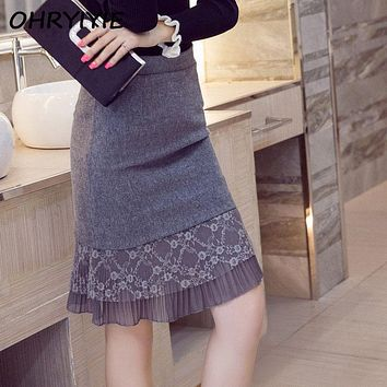 OHRYIYIE Plus Size 5XL Women Skirts 2017 Fashion Lace Patchwork Women Pencil Woolen Skirt High Waist Ruffle Hem Skirt For Women