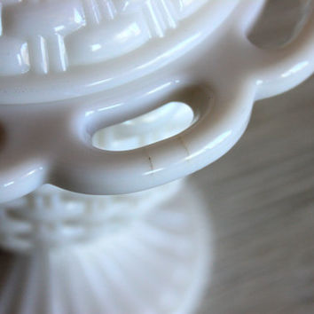 milk glass cream and sugar set // imperial glass basketweave // shabby chic dining