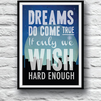 Quote Poster, Peter Pan, Nursery Art, Wall Decor,  Literature Print, Typographic Print, Minimalist, J. M. Barrie