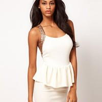 ASOS Peplum Dress with Sequin Straps at asos.com