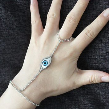 Evil Eye Bracelet Ring Lariat Antiqued Silver bracelet