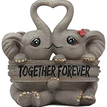 Ebros Together Forever Elephant Couple Lovers With Heart Shaped Trunks Statue Love Elephants Talisman Of Luck Figurine Collectible