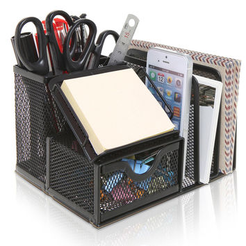MyGift Metal Mesh Office Supplies Storage Rack Mail Organizer Post It Note Memo Pad Holder Black
