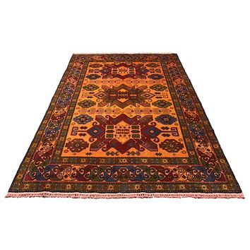 6x9 Caucasian Kazak Orange Geometric Overdyed Handknotted Rug 2770