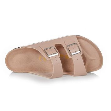Birkenstock Arizona Sandals Top-layer-leather Beige - Ready Stock