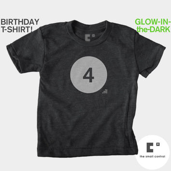4th Fourth Birthday Shirt (Boys & Girls) Glow-in-the-Dark