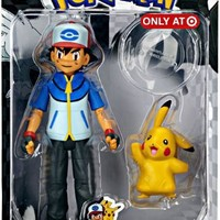 Pokemon Black White Exclusive Trainer Action Figure Ash with Pikachu