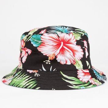 Hawaiian Reversible Mens Bucket Hat Black One Size For Men 25476210001