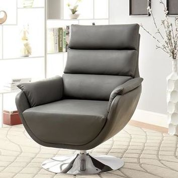 Pilsner Contemporary Leatherette Swivel Accent Chair in Gray