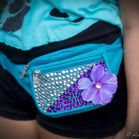 Rave Festival Turquoise Jeweled Fanny-Pack With a Purple Flower and Rhinestones