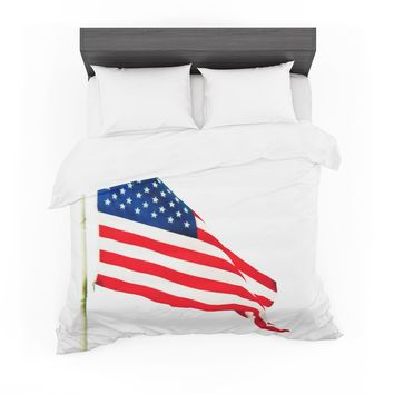 "Sylvia Coomes ""American Flag"" Red Holiday Featherweight Duvet Cover"