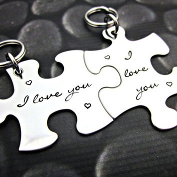 I love you - Couples Interlocking Puzzle Keychain
