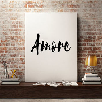 Italian Print ''Amore'' Printable Italian Poster Printable Wall Art Typography Art Bedroom Print Love Print Black and White Large Poster
