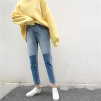 High Waist Jeans Women Spring 2018 Fashion Contrast Color Design Slim Fit Ladies Casual Ankle Length Cropped Denim Jeans Pants