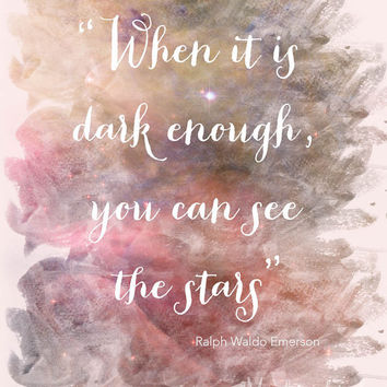 pink home decor - typography print -  nursery art - galaxy - ralph waldo emerson - typography art - stars quote art - See the Stars